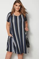 Cobalt Blue Striped Drape Pocket Dress