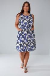 Cobalt & Ivory Palm Pocket Dress With Elasticated Waistband