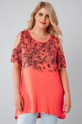 Coral Cold Shoulder Butterfly Printed Top