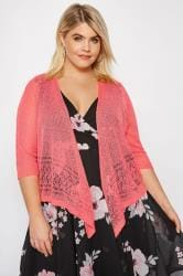 Coral Popcorn Cropped Shrug