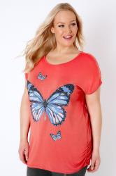 Coral Studded Butterfly Print Top With Ruched Sides
