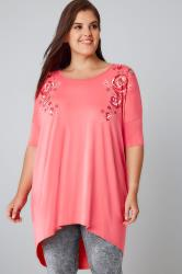 Coral Top With Mirror Floral Pattern & Extreme Dipped Hem