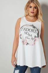 Cream 'J'Adore' Slogan Print Vest Top With Whipstitch Sleeves