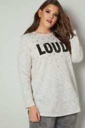 Cream 'Loud' Slogan Sweat Top With Faux Pearl Embellishment