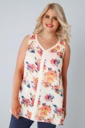 Cream & Pink Floral Print Sleeveless Top With Contrast Trim