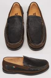D555 Black Slip On Shoe With Brown Trim