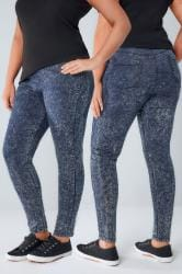 Dark Blue Acid Wash Denim Jeggings With Elasticated Waist