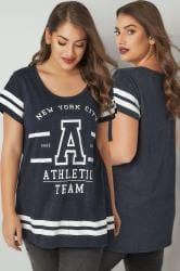 Dark Blue Slogan Print Varsity T-Shirt