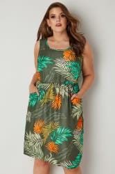 Dark Green & Orange Palm Print Pocket Dress With Elasticated Waist