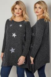 Dark Grey Textured Star Print Longline Knitted Top With Hanky Hem