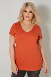 Dark Orange Basic V-Neck T-Shirt