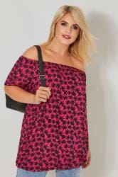 Dark Pink & Black Palm Tree Print Bardot Top With Bubble Hem