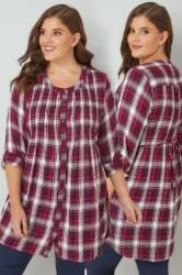 Dark Pink Checked Longline Embellished Top With Pintuck Detailing