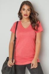 Dark Pink Marl Short Sleeved V-Neck Basic T-Shirt