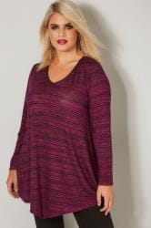 Dark Pink Space Dye Jersey Top With Asymmetric Hem & PU Trim