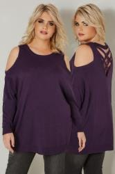 Dark Purple Cold Shoulder Knitted Jumper With Rear Cross Over Straps