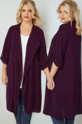 Dark Purple Lightweight Duster Jacket With Waterfall Front