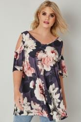 Dark Purple & Pink Cold Shoulder Floral Swing Top