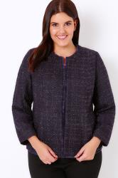 Deep Purple Sparkle Boucle Jacket With Fringe Trim