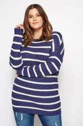 Denim Blue Stripe Lattice Back Knitted Jumper