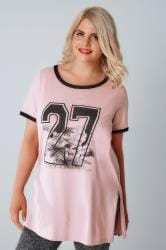Dusky Pink 27 Floral Print Top With Contrast Edges