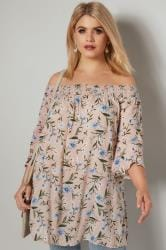 Dusky Pink Floral Print Gypsy Top With Flute Sleeves
