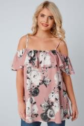 Dusky Pink & Grey Floral Frilled Cold Shoulder Jersey Cami Top