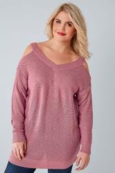 Dusky Pink Knitted Cold Shoulder Jumper With Pointelle Detail