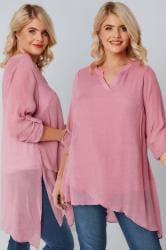 Dusky Pink Layered Blouse With Notch Neck