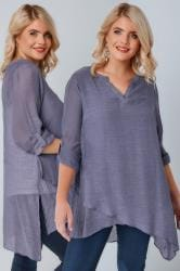 Dusky Purple Layered Blouse With Notch Neck & Dipped Hem