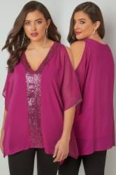 YOURS LONDON Fuchsia Pink Sequin V-Neck Blouse With Cold Shoulders