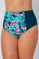 Green & Blue Tropical Orchard Print High Waisted Bikini Brief