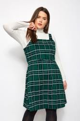 Green Check Zip Pinafore Dress