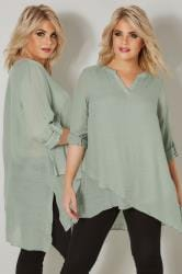Green Layered Blouse With Notch Neck & Dipped Hem