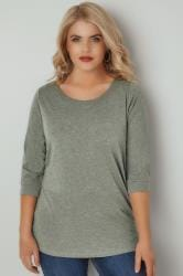 Green Marl Band Scoop Neckline T-Shirt