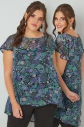 Green & Navy Leaf Print Swing Top With Dipped Hem
