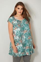 Green & Red Tropical Palm Leaf Print Gypsy Top