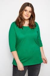 Green Seamed Scoop Neck Top