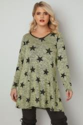 Green Star Print Longline Swing Top