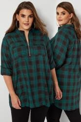 Green Zip Through Check Shirt