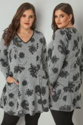 Grey & Black Longline Floral Top With Pockets & PU Trim V-Neckline