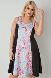 Grey, Black & Multi Floral Print Scuba Skater Dress