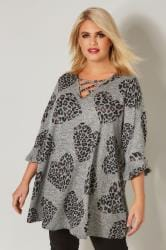 Grey, Black & Pink Animal Print Top