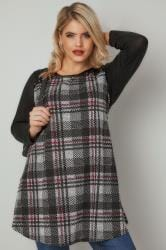 Grey, Black & Red Checked Longline Top With Eyelet Shoulder Detail