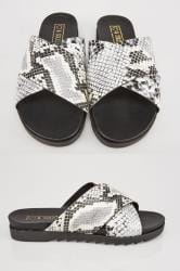 Grey & Black Snake Print Cross Over Strap Sliders In E Fit