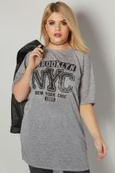 Grey 'Brooklyn NYC' Flecked Longline Jersey Top