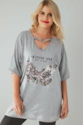 Grey Butterfly Print Top With Choker Neckline