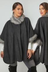 Grey Fleece Wrap With Faux Fur Trims