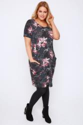 Grey Floral Print Jersey Dress With Drop Pockets