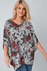 Grey Floral Print V-neck Longline Top With Batwing Sleeves
